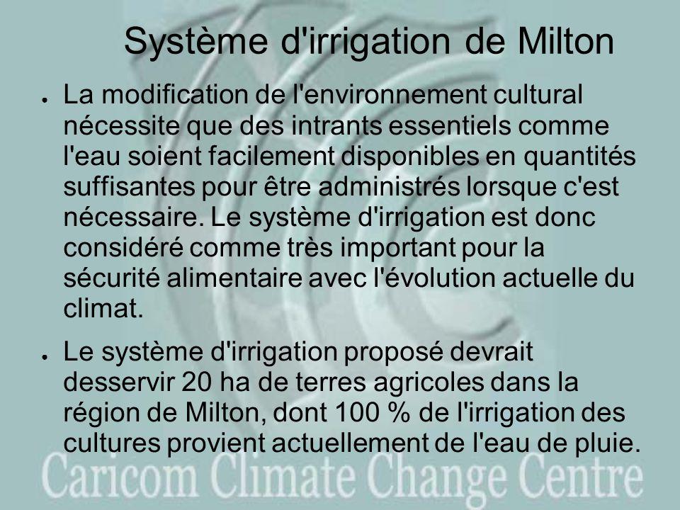 Système d irrigation de Milton La modification de l environnement cultural nécessite que des intrants essentiels comme l eau soient facilement disponibles en quantités suffisantes pour être administrés lorsque c est nécessaire.