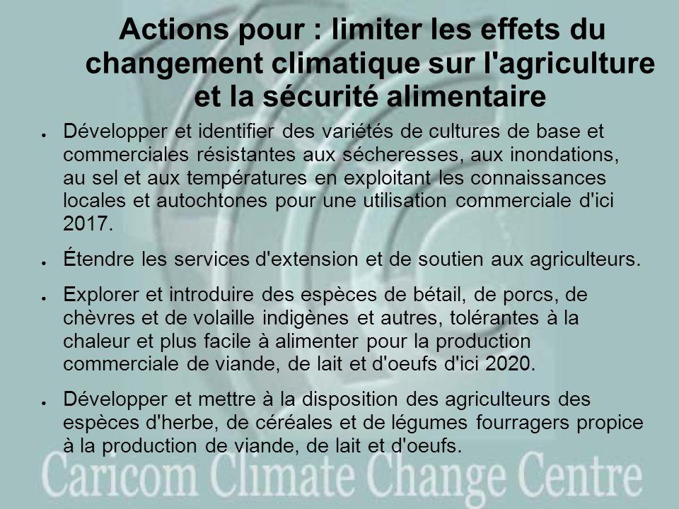 Actions pour : limiter les effets du changement climatique sur l agriculture et la sécurité alimentaire Développer et identifier des variétés de cultures de base et commerciales résistantes aux sécheresses, aux inondations, au sel et aux températures en exploitant les connaissances locales et autochtones pour une utilisation commerciale d ici 2017.