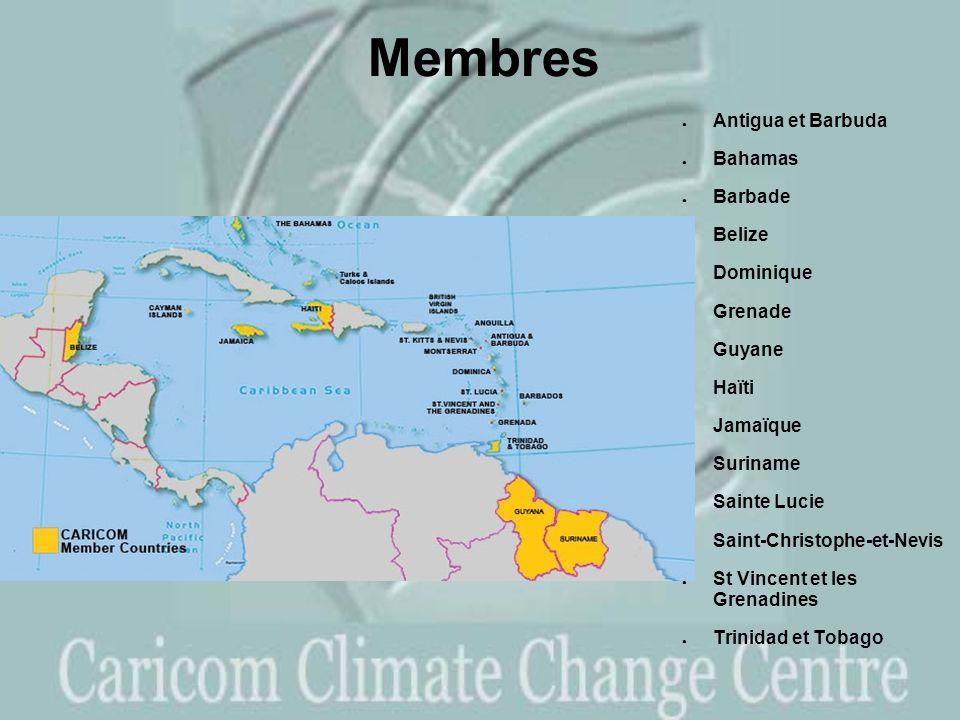 Membres Antigua et Barbuda Bahamas Barbade Belize Dominique Grenade Guyane Haïti Jamaïque Suriname Sainte Lucie Saint-Christophe-et-Nevis St Vincent et les Grenadines Trinidad et Tobago