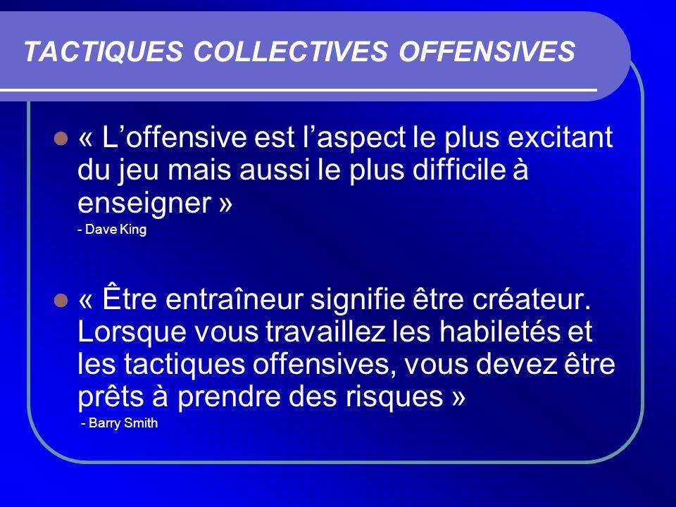 TACTIQUES COLLECTIVES OFFENSIVES « Loffensive est laspect le plus excitant du jeu mais aussi le plus difficile à enseigner » - Dave King « Être entraî