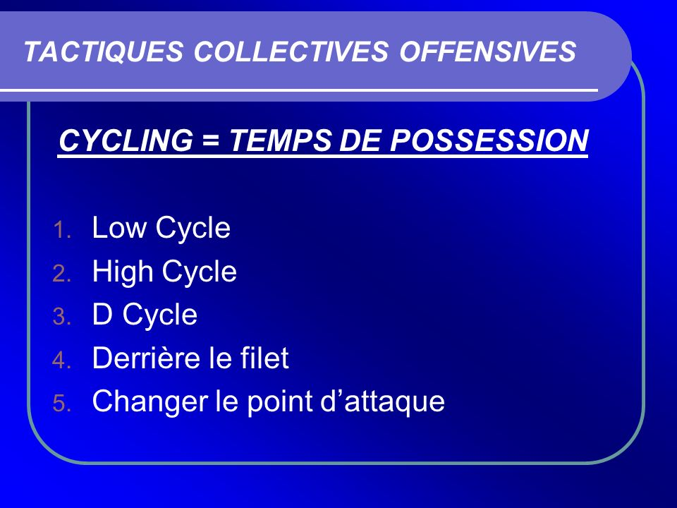 TACTIQUES COLLECTIVES OFFENSIVES CYCLING = TEMPS DE POSSESSION 1. Low Cycle 2. High Cycle 3. D Cycle 4. Derrière le filet 5. Changer le point dattaque