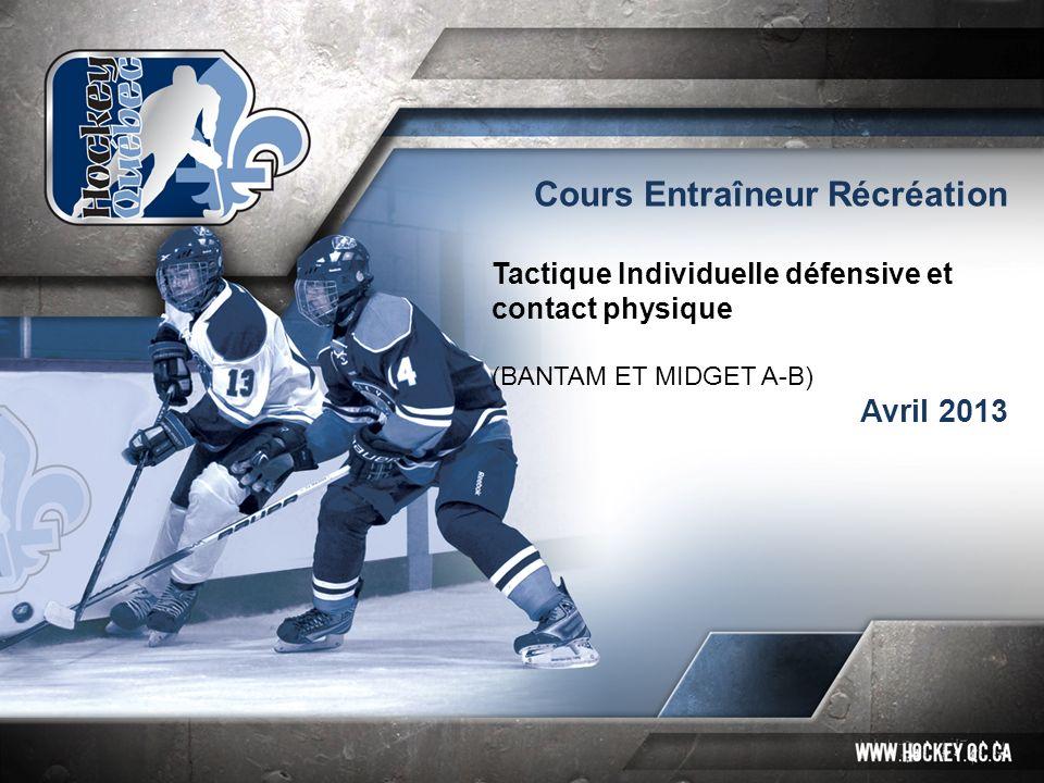 Cours Entraîneur Récréation Tactique Individuelle défensive et contact physique (BANTAM ET MIDGET A-B) Avril 2013
