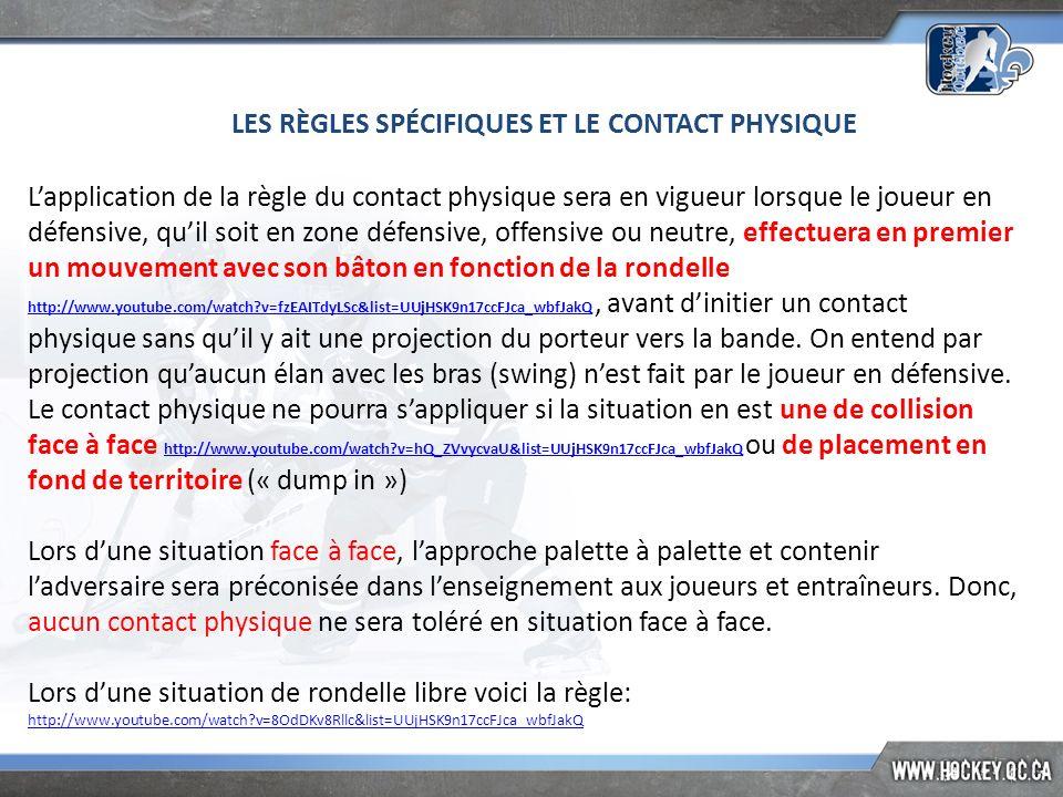 LES RÈGLES SPÉCIFIQUES ET LE CONTACT PHYSIQUE Lapplication de la règle du contact physique sera en vigueur lorsque le joueur en défensive, quil soit e