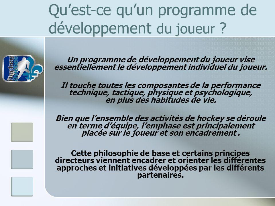 Quest-ce quun programme de développement du joueur ? Un programme de développement du joueur vise essentiellement le développement individuel du joueu