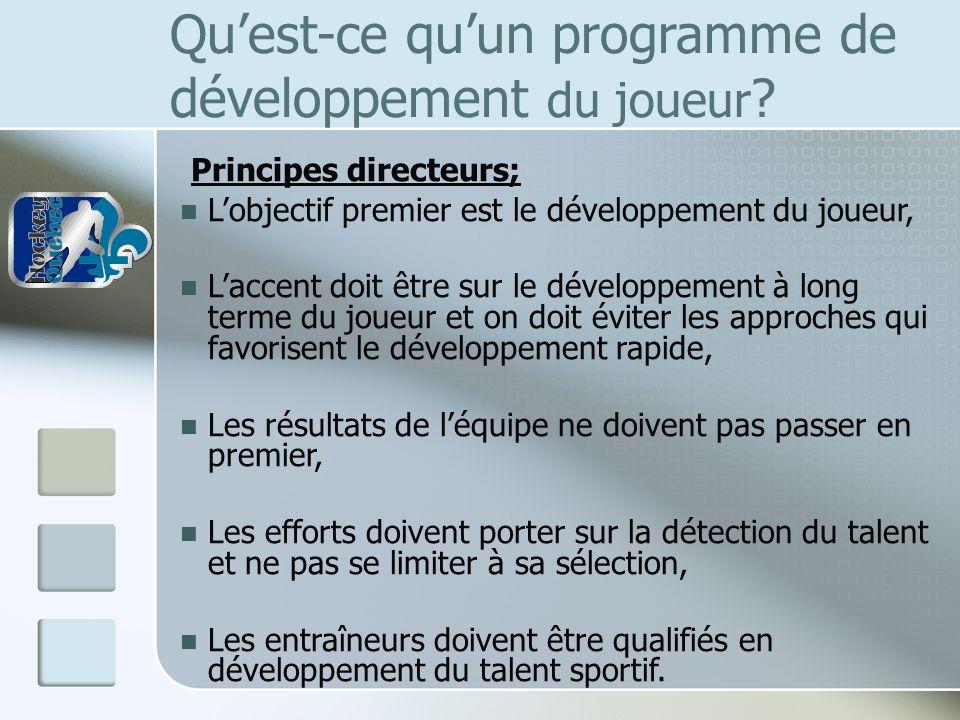 Quest-ce quun programme de développement du joueur ? Principes directeurs; Lobjectif premier est le développement du joueur, Laccent doit être sur le