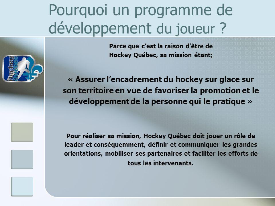 Pourquoi un programme de développement du joueur ? Parce que cest la raison dêtre de Hockey Québec, sa mission étant; « Assurer lencadrement du hockey