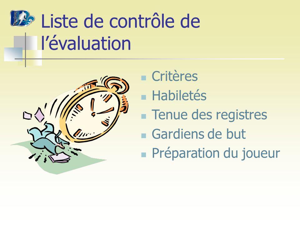Liste de contrôle de lévaluation Critères Habiletés Tenue des registres Gardiens de but Préparation du joueur