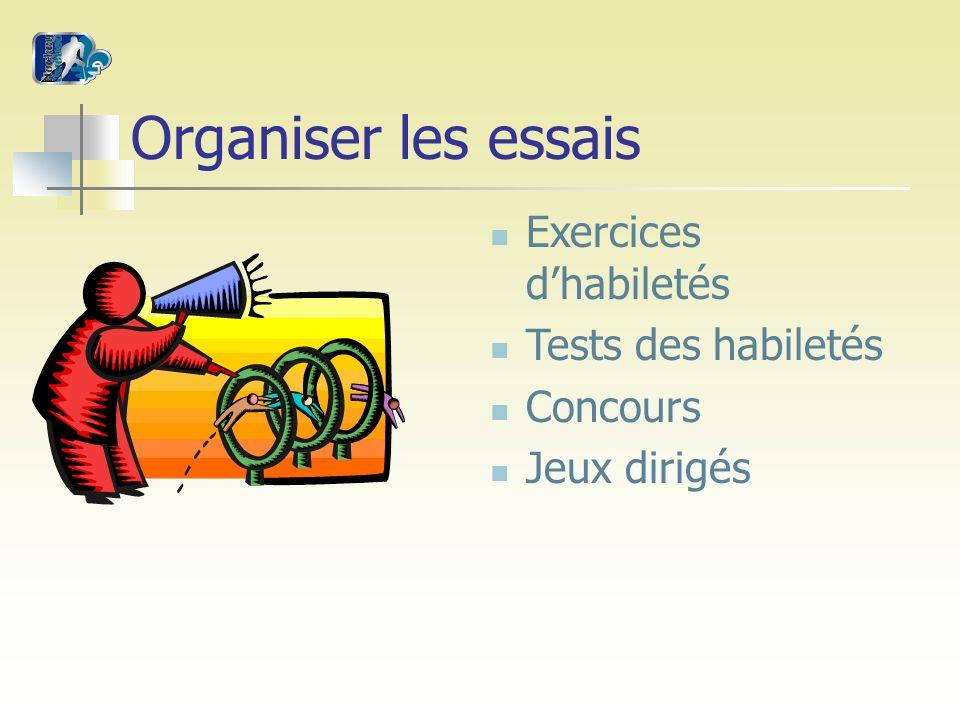 Organiser les essais Exercices dhabiletés Tests des habiletés Concours Jeux dirigés