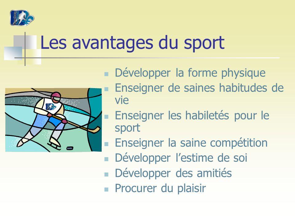 Les avantages du sport Développer la forme physique Enseigner de saines habitudes de vie Enseigner les habiletés pour le sport Enseigner la saine compétition Développer lestime de soi Développer des amitiés Procurer du plaisir