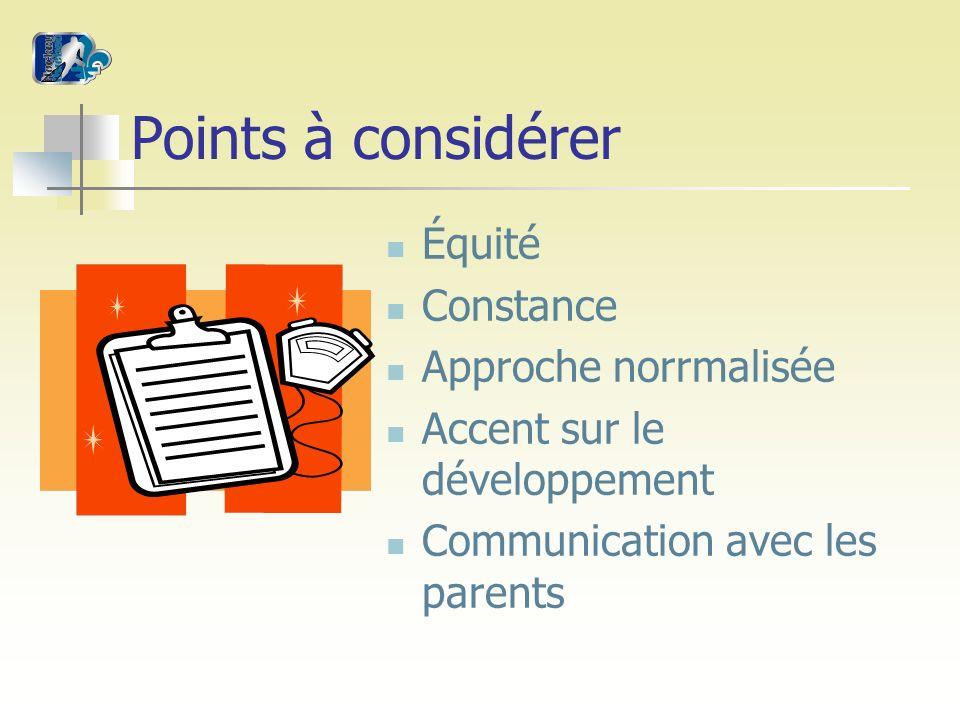 Points à considérer Équité Constance Approche norrmalisée Accent sur le développement Communication avec les parents