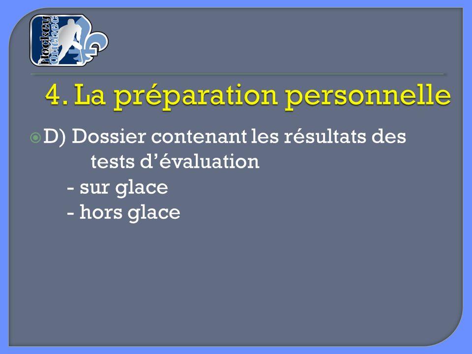 D) Dossier contenant les résultats des tests dévaluation - sur glace - hors glace