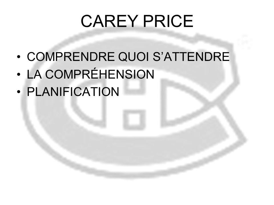 CAREY PRICE COMPRENDRE QUOI SATTENDRE LA COMPRÉHENSION PLANIFICATION