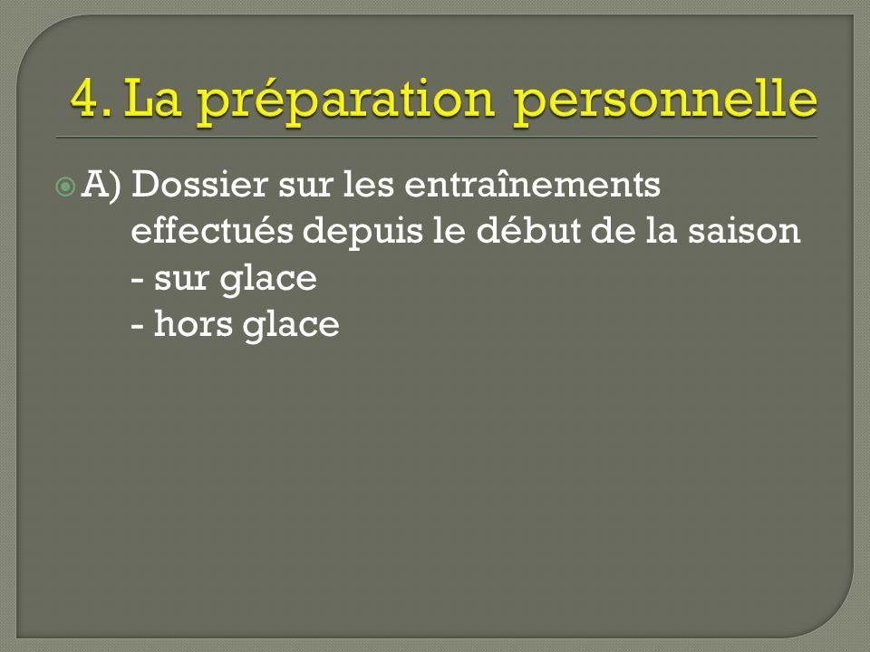 2. Dossier des observation recueillies - lors des entraînements - lors des parties