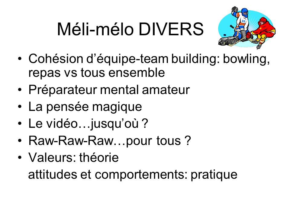 Méli-mélo DIVERS Cohésion déquipe-team building: bowling, repas vs tous ensemble Préparateur mental amateur La pensée magique Le vidéo…jusquoù .