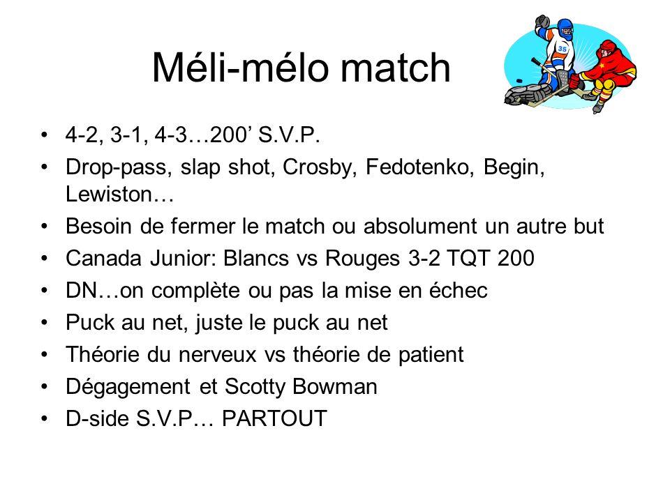 Méli-mélo match 4-2, 3-1, 4-3…200 S.V.P.