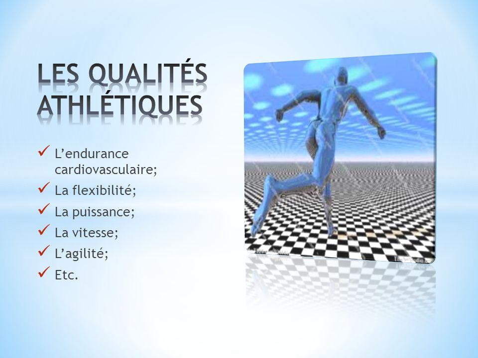 Lendurance cardiovasculaire; La flexibilité; La puissance; La vitesse; Lagilité; Etc.