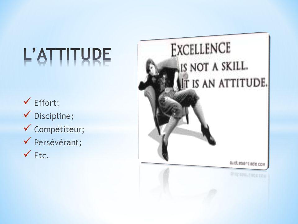 Effort; Discipline; Compétiteur; Persévérant; Etc.