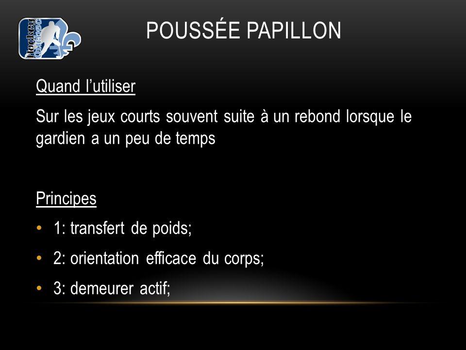 POUSSÉE PAPILLON Quand lutiliser Sur les jeux courts souvent suite à un rebond lorsque le gardien a un peu de temps Principes 1: transfert de poids; 2