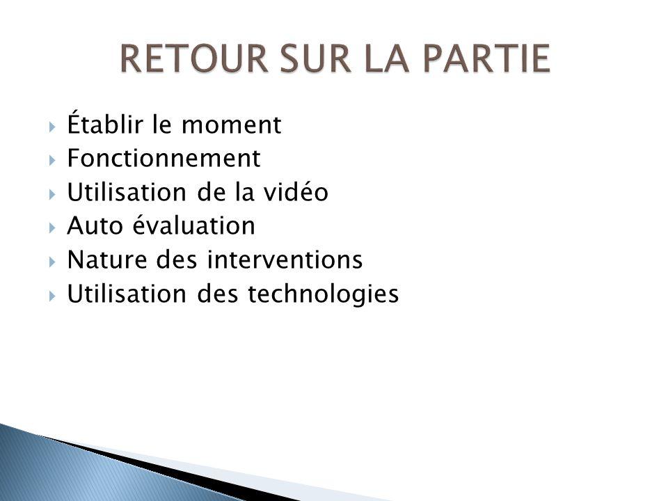 Établir le moment Fonctionnement Utilisation de la vidéo Auto évaluation Nature des interventions Utilisation des technologies