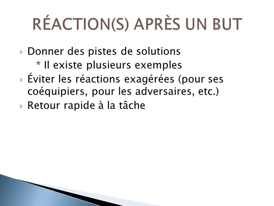 Donner des pistes de solutions * Il existe plusieurs exemples Éviter les réactions exagérées (pour ses coéquipiers, pour les adversaires, etc.) Retour rapide à la tâche