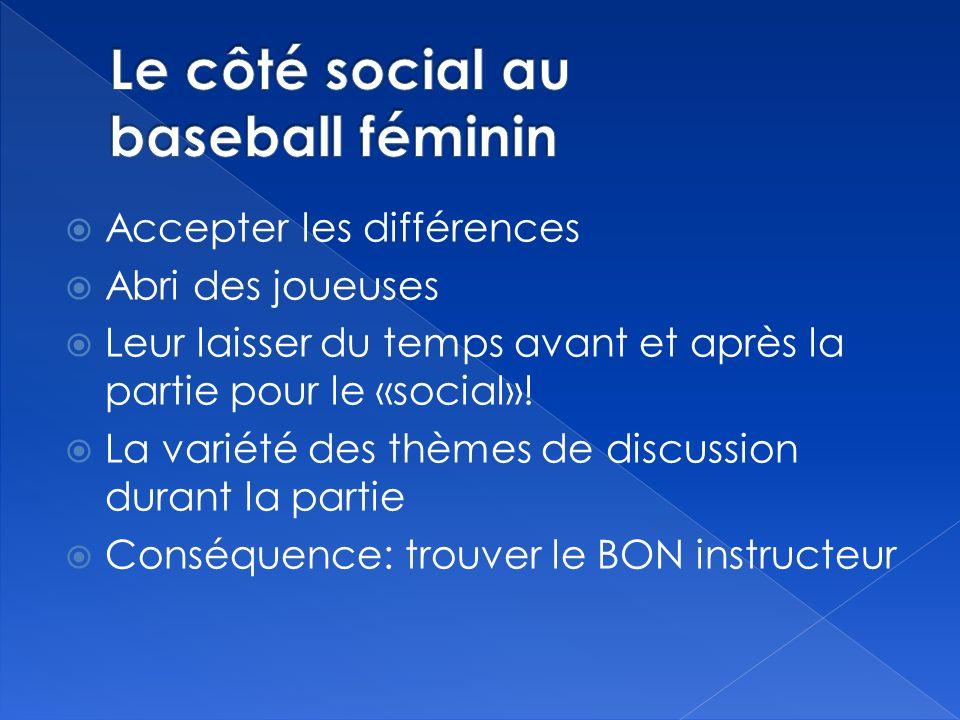 Accepter les différences Abri des joueuses Leur laisser du temps avant et après la partie pour le «social».