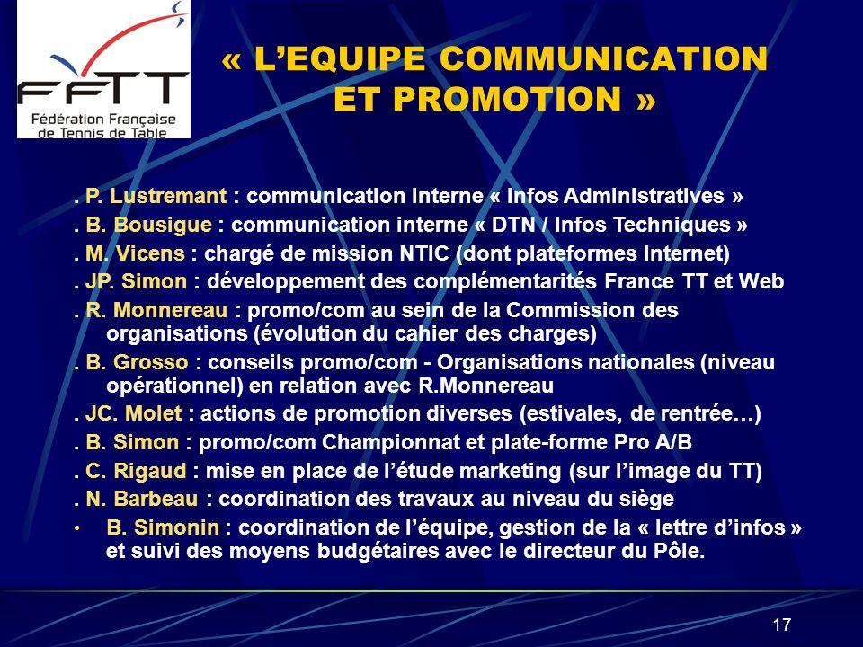17 « LEQUIPE COMMUNICATION ET PROMOTION ». P. Lustremant : communication interne « Infos Administratives ». B. Bousigue : communication interne « DTN