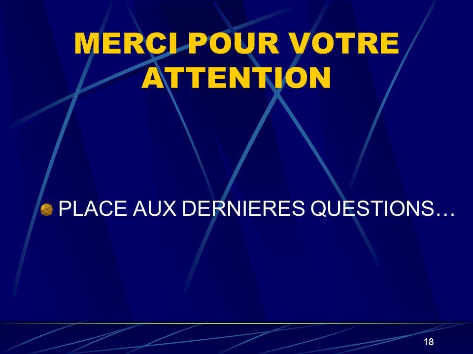 MERCI POUR VOTRE ATTENTION PLACE AUX DERNIERES QUESTIONS… 18