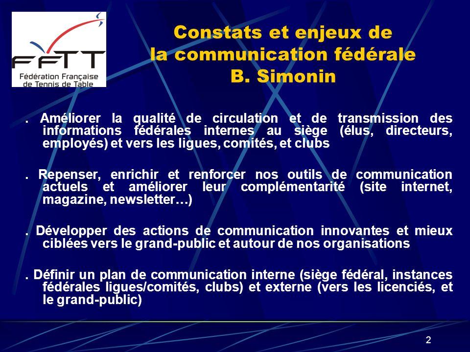 2 Constats et enjeux de la communication fédérale B. Simonin. Améliorer la qualité de circulation et de transmission des informations fédérales intern