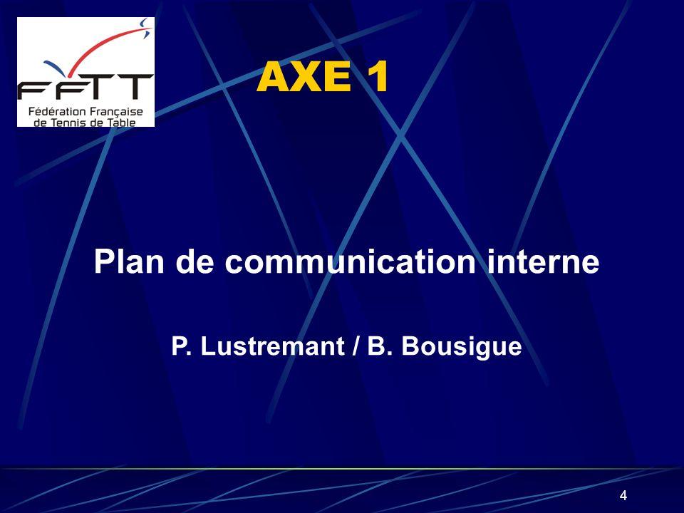 4 AXE 1 Plan de communication interne P. Lustremant / B. Bousigue