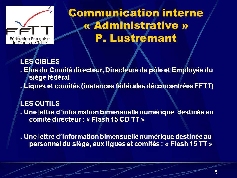 5 Communication interne « Administrative » P. Lustremant LES CIBLES. Elus du Comité directeur, Directeurs de pôle et Employés du siège fédéral. Ligues