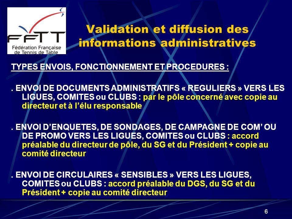 6 Validation et diffusion des informations administratives TYPES ENVOIS, FONCTIONNEMENT ET PROCEDURES :. ENVOI DE DOCUMENTS ADMINISTRATIFS « REGULIERS
