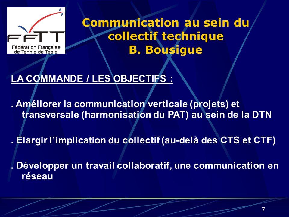 7 Communication au sein du collectif technique B. Bousigue LA COMMANDE / LES OBJECTIFS :. Améliorer la communication verticale (projets) et transversa