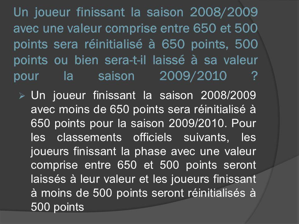 Un joueur finissant la saison 2008/2009 avec une valeur comprise entre 650 et 500 points sera réinitialisé à 650 points, 500 points ou bien sera-t-il laissé à sa valeur pour la saison 2009/2010 .