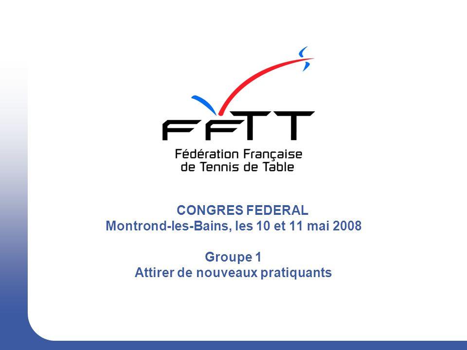 CONGRES FEDERAL Montrond-les-Bains, les 10 et 11 mai 2008 Groupe 1 Attirer de nouveaux pratiquants