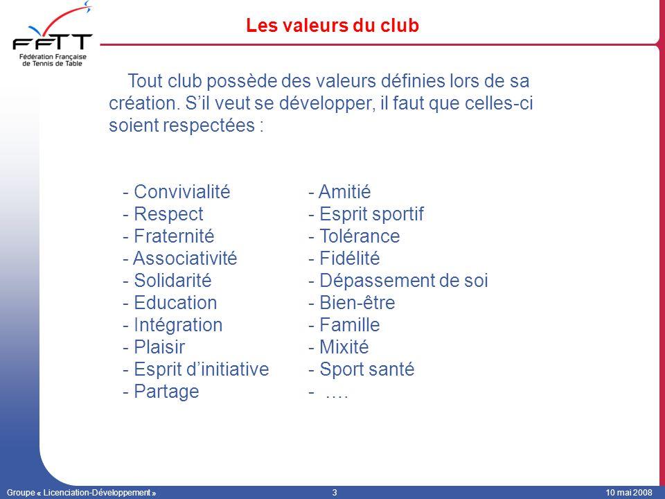 Groupe « Licenciation-Développement »310 mai 2008 Les valeurs du club Tout club possède des valeurs définies lors de sa création. Sil veut se développ