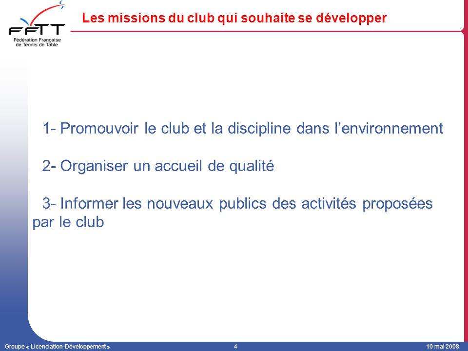 Groupe « Licenciation-Développement »410 mai 2008 Les missions du club qui souhaite se développer 1- Promouvoir le club et la discipline dans lenvironnement 2- Organiser un accueil de qualité 3- Informer les nouveaux publics des activités proposées par le club