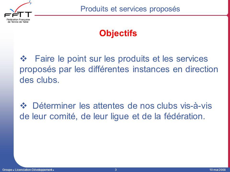 Groupe « Licenciation-Développement »310 mai 2008 Faire le point sur les produits et les services proposés par les différentes instances en direction des clubs.