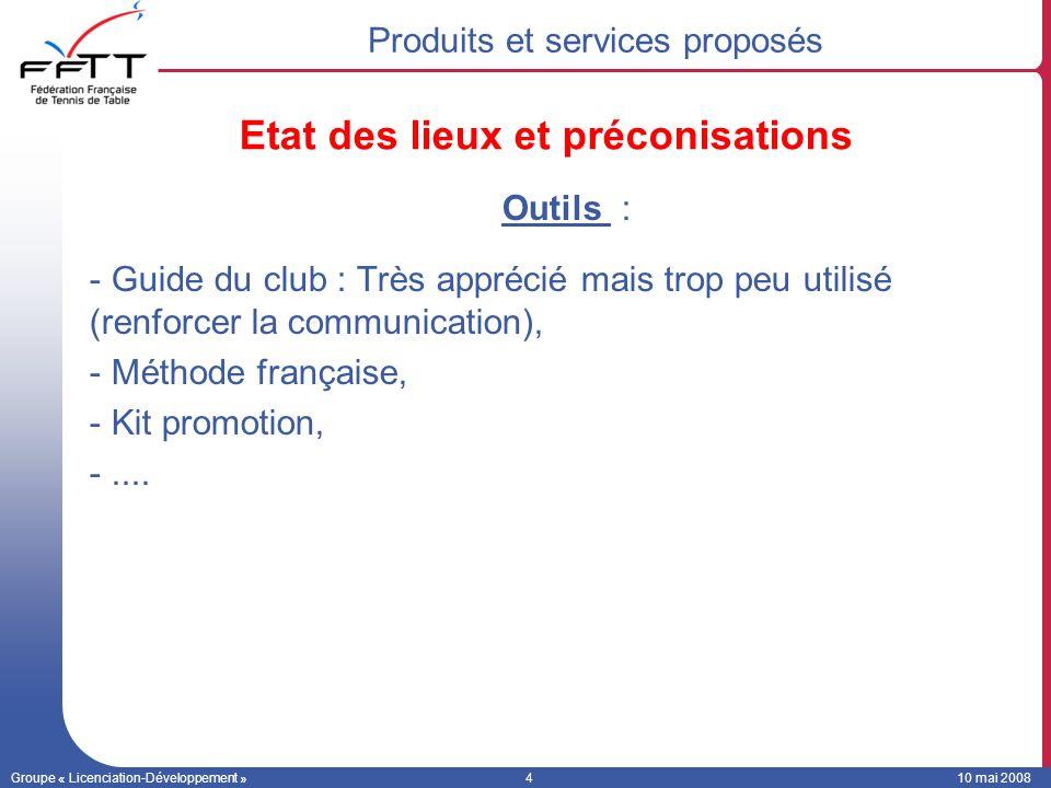 Groupe « Licenciation-Développement »410 mai 2008 Outils : -Guide du club : Très apprécié mais trop peu utilisé (renforcer la communication), -Méthode française, -Kit promotion, -....