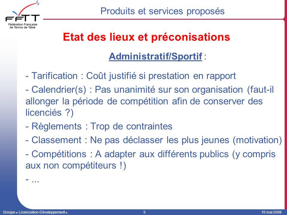 Groupe « Licenciation-Développement »510 mai 2008 Administratif/Sportif : -Tarification : Coût justifié si prestation en rapport -Calendrier(s) : Pas