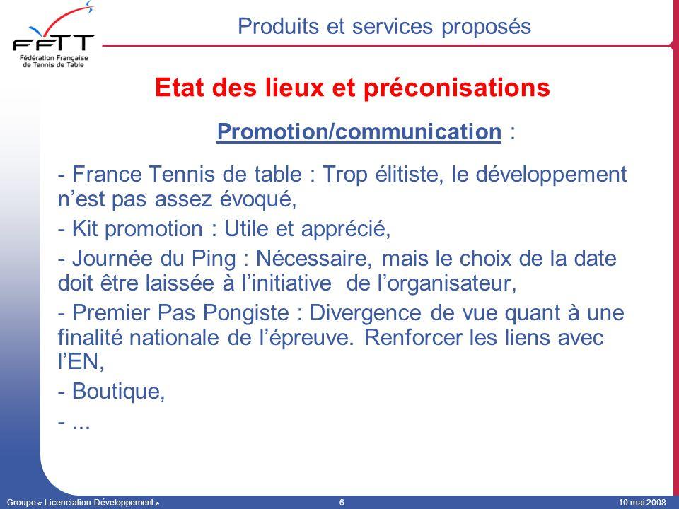 Groupe « Licenciation-Développement »610 mai 2008 Promotion/communication : -France Tennis de table : Trop élitiste, le développement nest pas assez é