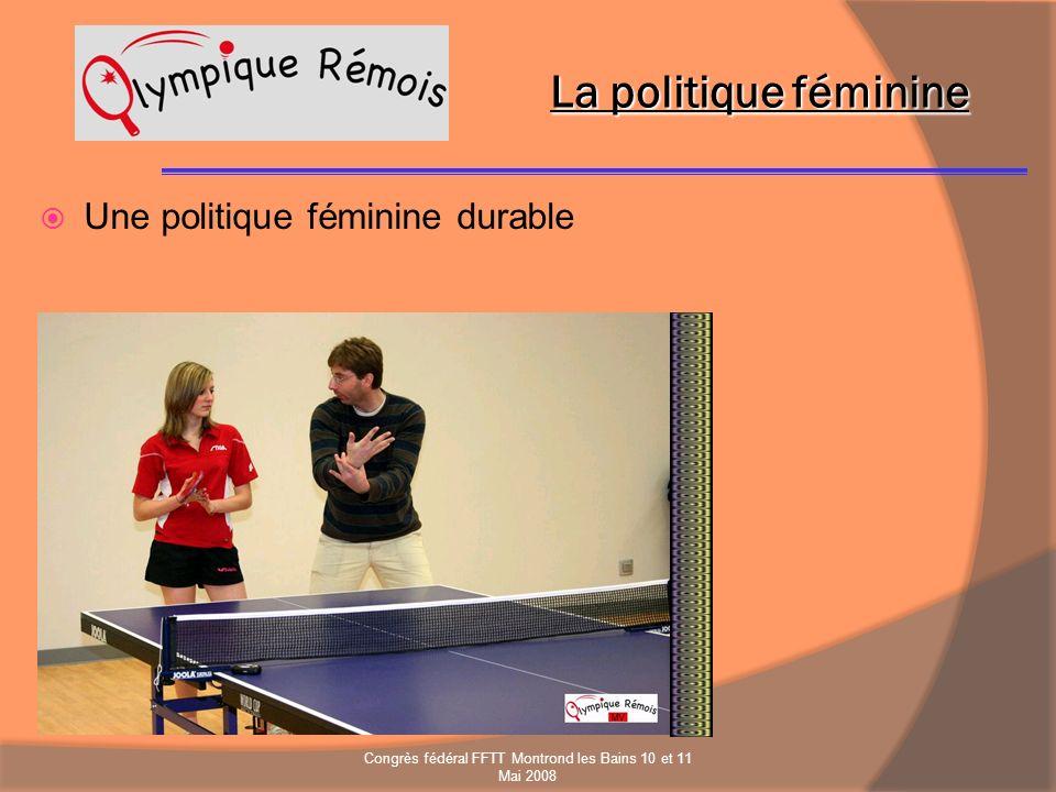 La politique féminine Une politique féminine durable Congrès fédéral FFTT Montrond les Bains 10 et 11 Mai 2008