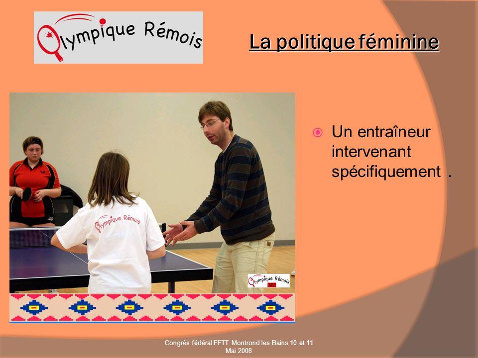Un entraîneur intervenant spécifiquement. La politique féminine Congrès fédéral FFTT Montrond les Bains 10 et 11 Mai 2008