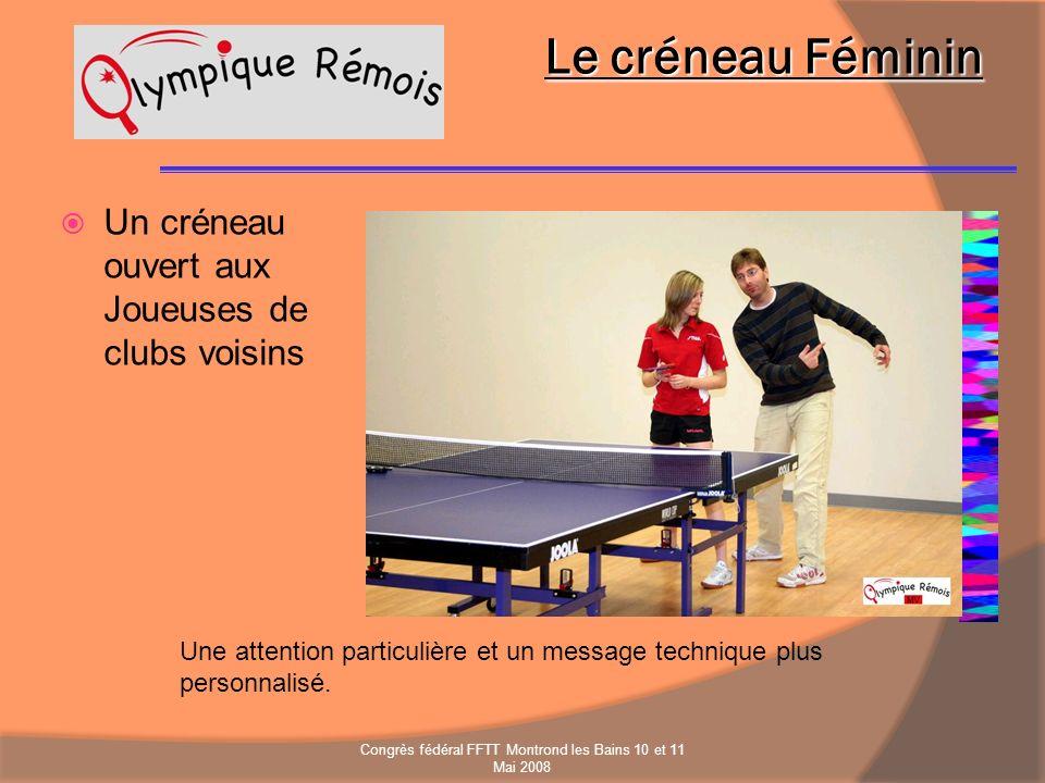 Le créneau Féminin Un créneau ouvert aux Joueuses de clubs voisins Une attention particulière et un message technique plus personnalisé. Congrès fédér