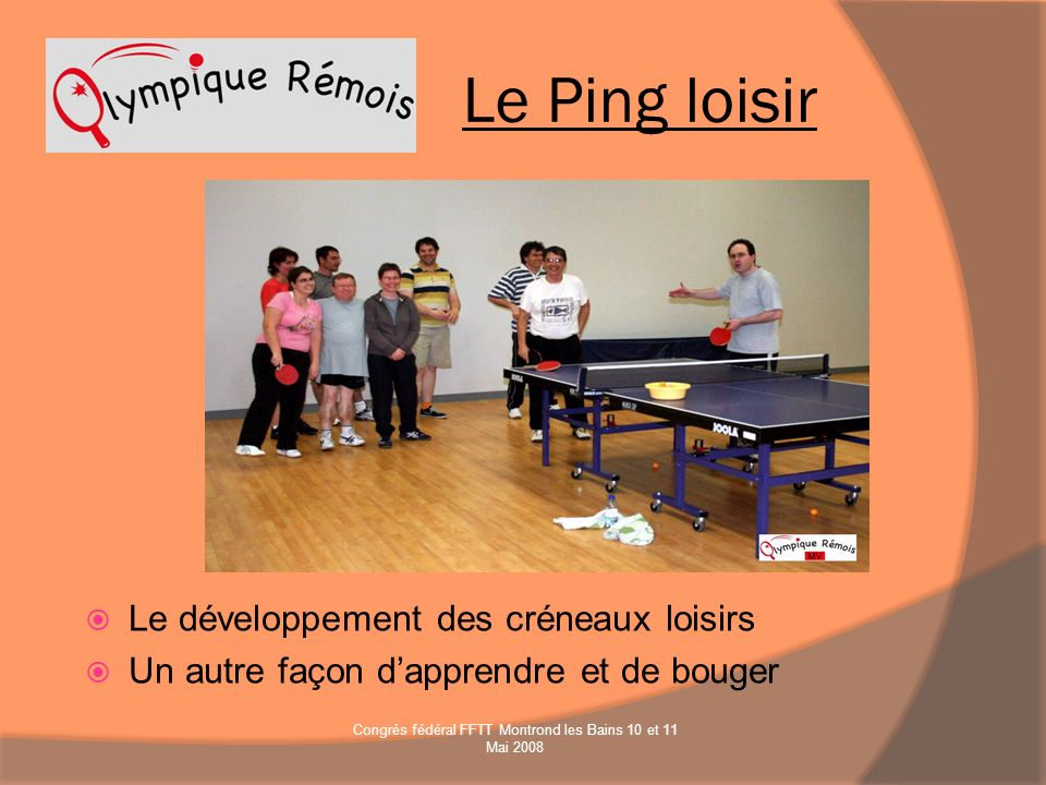 Le développement des créneaux loisirs Un autre façon dapprendre et de bouger Le Ping loisir Congrès fédéral FFTT Montrond les Bains 10 et 11 Mai 2008