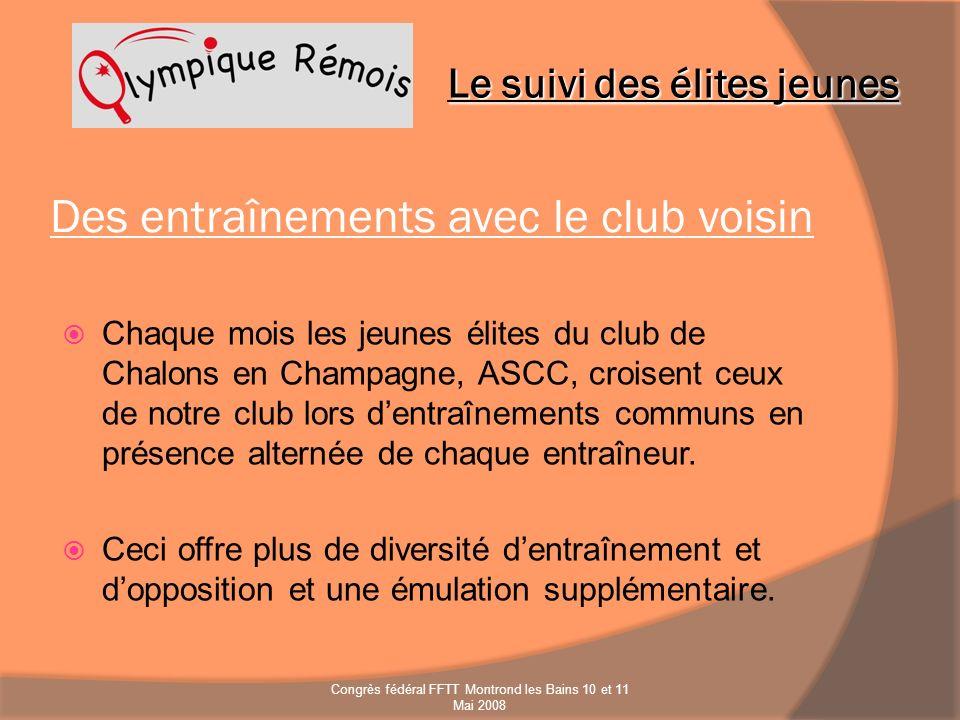 Des entraînements avec le club voisin Chaque mois les jeunes élites du club de Chalons en Champagne, ASCC, croisent ceux de notre club lors dentraînem