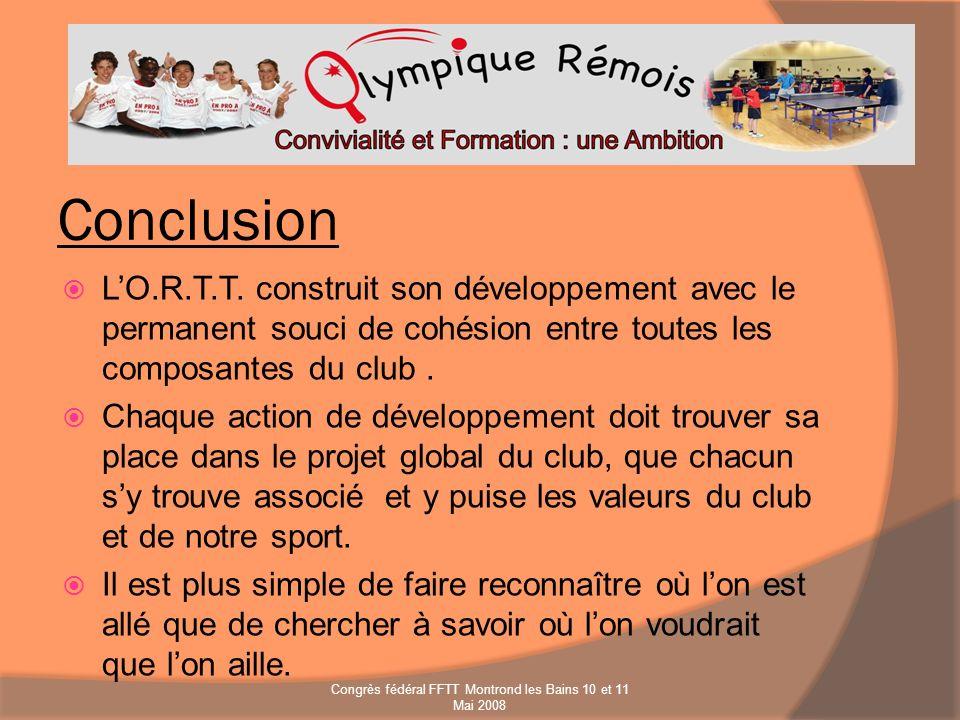 Conclusion LO.R.T.T. construit son développement avec le permanent souci de cohésion entre toutes les composantes du club. Chaque action de développem