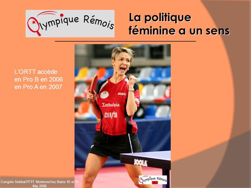 La politique féminine a un sens LORTT accède en Pro B en 2006 en Pro A en 2007 Congrès fédéral FFTT Montrond les Bains 10 et 11 Mai 2008