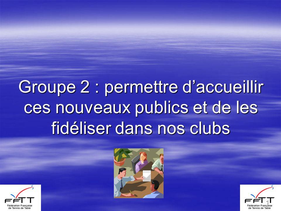 1 Groupe 2 : permettre daccueillir ces nouveaux publics et de les fidéliser dans nos clubs