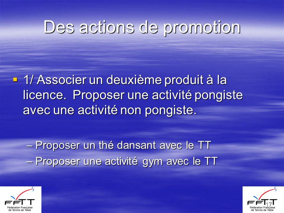 17 Des actions de promotion 1/ Associer un deuxième produit à la licence. Proposer une activité pongiste avec une activité non pongiste. 1/ Associer u