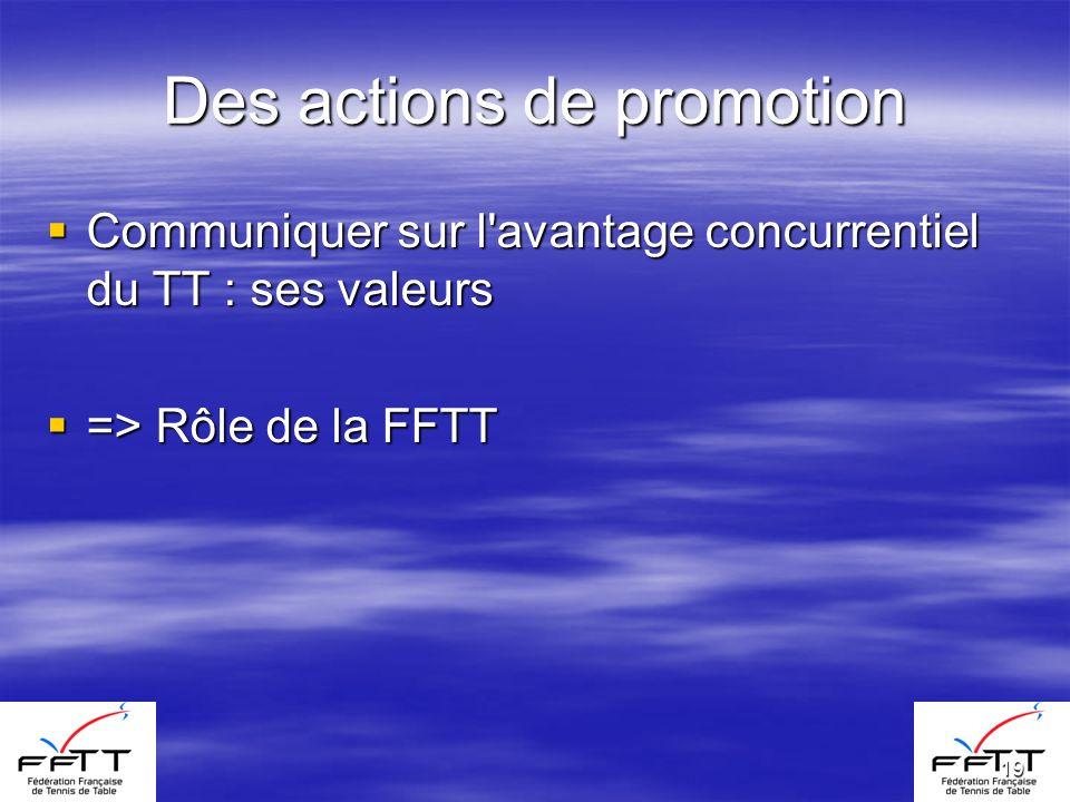 19 Des actions de promotion Communiquer sur l avantage concurrentiel du TT : ses valeurs Communiquer sur l avantage concurrentiel du TT : ses valeurs => Rôle de la FFTT => Rôle de la FFTT